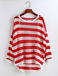 Damen Solide Gestreift Einfach Lässig/Alltäglich Bluse,Mit Kapuze Langarm Polyester