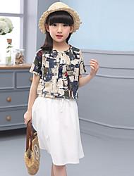 cheap -Girls' Print Clothing Set,Cotton Linen Summer Fall Half Sleeve Floral White