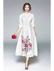 Fodero Vestito Da donna-Casual Tinta unita Ricamato Colletto alla coreana Medio Manica a 3/4 Seta Autunno A vita medio-altaMedia