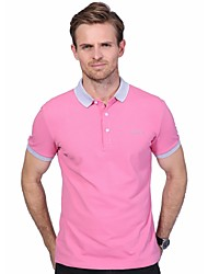 Men's Plus Size Fashion Slim Letter Print Short Sleeved Polo Shirt Cotton Spandex