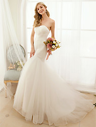 cheap -Mermaid / Trumpet Sweetheart Sweep / Brush Train Tulle Custom Wedding Dresses with Criss-Cross Button by LAN TING BRIDE®