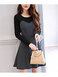 cheap -Women's Daily A Line Bodycon Loose Dress,Solid Polka Dot Striped Round Neck Knee-length Long Sleeves Silk Cotton Acrylic Summer Mid Rise