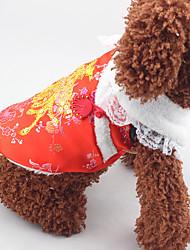 Недорогие -Собака Плащи Одежда для собак Новый год Пайетки Красный Костюм Для домашних животных