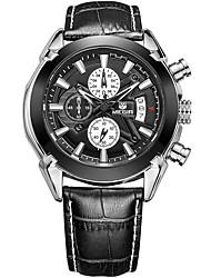 MEGIR Herrn Sportuhr Modeuhr Armbanduhr Einzigartige kreative Uhr Armbanduhren für den Alltag Uhr Holz Quartz Kalender Echtes Leder Band