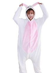 cheap -Kigurumi Pajamas Rabbit Bunny Onesie Pajamas Costume Flannel Fabric Pink Blue Cosplay For Adults' Animal Sleepwear Cartoon Halloween