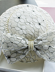 cheap -Imitation Pearl Lace Fabric Silk Net leather Fascinators Hats Headpiece