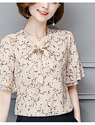 cheap -Women's Daily Casual Blouse,Print Round Neck Half Sleeves Polyester