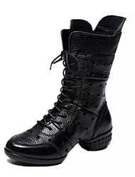 "cheap -Women's Dance Boots Nappa Leather Boots Split Sole Outdoor Sided Hollow Out Low Heel Black Red 1"" - 1 3/4"""