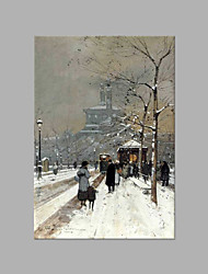IARTS® Hand Painted Modern Abstract Walking in Snowy Day European Style Oil Painting On Canvas with Stretched Frame Wall Art For Home Decoration