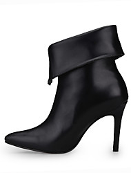 Women's Boots Fashion Boots Spring Fall PU Dress Party & Evening Zipper Black 4in-4 3/4in