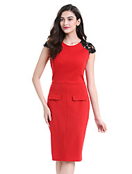Womens Elegant Lace Cap Sleeve High Waist O-Neck Knee Casual Work Party Sheath Bodycon Pencil Office Dress D0600