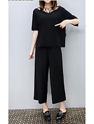 Недорогие -Для женщин На каждый день Лето Блузка Брюки Костюмы V-образный вырез,Простой Однотонный С короткими рукавами