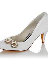 cheap -Women's Wedding Shoes Comfort Fall Winter Lace Satin Wedding Dress Party & Evening Imitation Pearl Cone Heel White 2in-2 3/4in