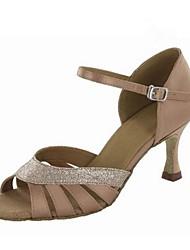 "Women's Latin Silk Sandals Performance Buckle Stiletto Heel Almond Purple Black Gold 3"" - 3 3/4"" Customizable"