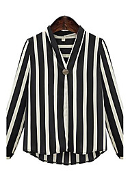 cheap -Women's Daily Plus Size Street chic Spring Fall Blouse,Striped V Neck Long Sleeves Polyester Medium