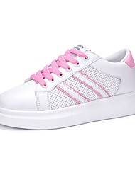 Damen Sneaker Komfort Tüll Leder Sommer Herbst Sportlich Normal Walking Schnürsenkel Plateau Rosa und Weiss Schwarz/weiss Weiß/Gelb7,5 -