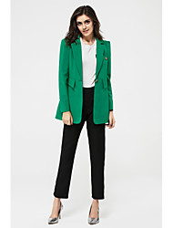 cheap -Women's Work Simple Casual Spring Blazer,Solid V Neck Long Sleeve Long Polyester