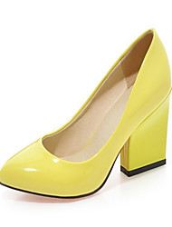 cheap -Women's Shoes PU Spring / Fall Novelty / Comfort Heels Chunky Heel Pointed Toe for Wedding / Party & Evening Beige / Yellow / Red