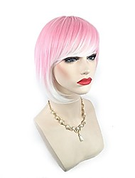 cheap -Synthetic Wig Straight Bob Haircut With Bangs Highlighted/Balayage Hair Pink Women's Capless Halloween Wig Lolita Wig Cosplay Wig Short
