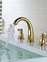 Widespread Widespread Brass Valve Two Handles Three Holes Ti-PVD , Bathroom Sink Faucet