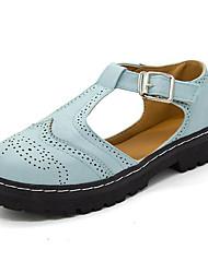 Women's Oxfords Comfort Fall PU Dress Low Heel Blue White 2in-2 3/4in
