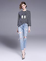 T-shirt Da donna Per uscire Casual Semplice Primavera Autunno,A strisce Con stampe Monocolore Rotonda Cotone Altro Manica lunga Medio