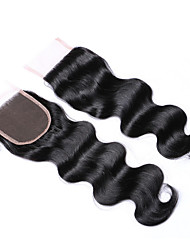 cheap -20 Inches Grade 8A 4x4 Lace Top Closure 100% Brazilian Human Hair 3 Part/Middle Part/Free Part #1B Natural Black Body Wave Hair Closure 1 Pcs