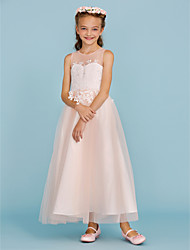cheap -A-Line / Princess Ankle Length Flower Girl Dress - Lace / Tulle Sleeveless Jewel Neck with Appliques / Sash / Ribbon by LAN TING BRIDE®