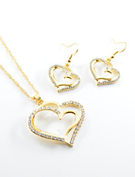 cheap -Women's Heart Jewelry Set Earrings / Necklace - Love Gold Drop Earrings / Necklace For Wedding / Party