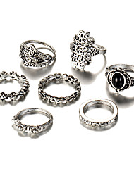 cheap -Women's Geometric Rings Set - Silver Plated Flower Vintage, Bohemian, Punk One Size Silver For Wedding / Party / Birthday