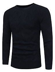 cheap -Men's Work Casual Regular Cardigan,Solid Leopard Round Neck Long Sleeves Polyester Winter Fall Medium Micro-elastic
