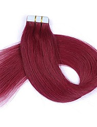 16-24 Inch Tape In Remy Human Hair Extensions Burgundy PU Tape In Hair Extensions 20 Pieces