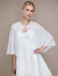cheap -Chiffon Wedding Party / Evening Women's Wrap With Applique Buttons Capelets
