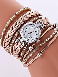 economico -Per donna Orologio alla moda Orologio braccialetto Quarzo PU Banda Fantastico Casual Nero Bianco Beige