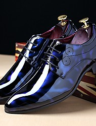 cheap -Men's Shoes Patent Leather Winter Fall Comfort Oxfords Lace-up For Casual Party & Evening Black Royal Blue Burgundy