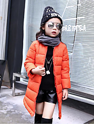 cheap -Girls' Solid Down & Cotton Padded, Cotton Polyester Winter Fall Long Sleeves Black Orange Red Blushing Pink Gray