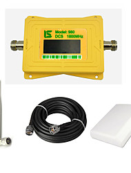 Intelligent Display Mobile Phone DCS 1800mhz Signal Booster DCS980 Signal Repeater Amplifier with Whip Antenna / Panel Antenna / 15m Cable Yellow