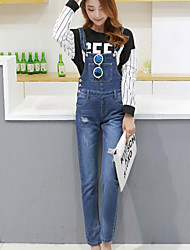 Da donna A vita alta Semplice Media elasticità Jeans Tuta da lavoro Pantaloni,Taglia piccola Tinta unita