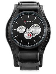 baratos -JUBAOLI Homens Quartzo Relógio de Pulso Chinês Calendário Mostrador Grande Lega Couro Banda Casual Relógio Criativo Único Fashion Legal