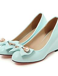 cheap -Women's Shoes PU Spring / Fall Comfort / Novelty Heels Wedge Heel Pointed Toe Bowknot / Rivet Beige / Blue / Pink / Wedding