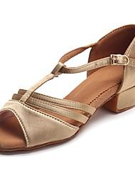 cheap -Latin Shoes Satin Sandal / Heel Buckle Chunky Heel Customizable Dance Shoes Beige / Practice