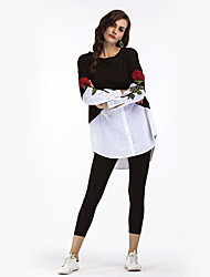 cheap -Women's Daily Holiday Vintage Street chic Winter Fall Shirt,Embroidery Round Neck Long Sleeves Polyester