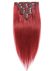 cheap -Straight Malaysian Light Blonde #Red Full Head Natural 100 Gram 7 pieces Clip In Human Hair Extensions