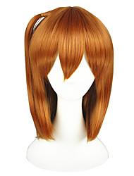 abordables -Mujer Pelucas sintéticas Corto Corte Recto Naranja Peluca con trenzas Peluca de cosplay Pelucas para Disfraz
