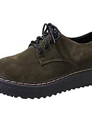preiswerte -Damen Schuhe PU Herbst Komfort Outdoor Flacher Absatz Runde Zehe Schnürsenkel für Schwarz / Grün