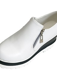 Women's Loafers & Slip-Ons Comfort Fall PU Dress Zipper Flat Heel Black White 2in-2 3/4in