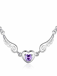 cheap -Women's Heart AAA Cubic Zirconia Cubic Zirconia Silver Plated Pendant Necklace  -  Heart Fashion Wings / Feather Purple Necklace For