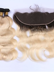 Human Hair Indian Hair Weft with Closure Body Wave Hair Extensions 4 Pieces Black/Bleach Blonde