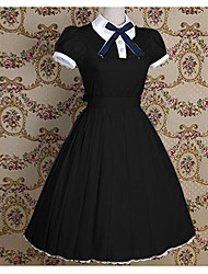 cheap -Gothic Lolita Dress Princess Women's Girls' Dress Cosplay Black Blue Pink Short Sleeves Tea Length
