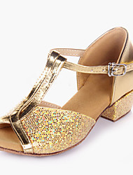cheap -Kids' Kids' Dance Shoes Sparkling Glitter Paillette PVC Leather Heel Indoor Sparkling Glitter Paillette Low Heel Gold Silver